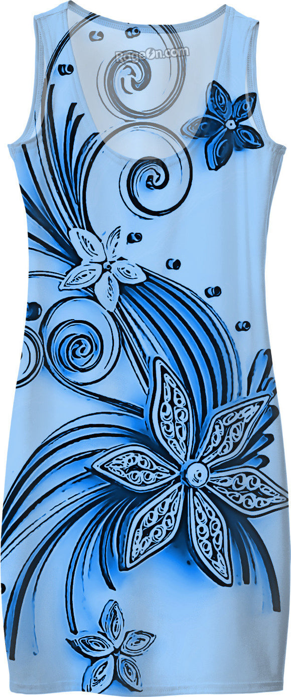 Light Blue flowers, floral ornament, cartoon design, all-over-print simple dress