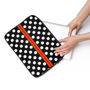 Laptop Sleeve, Carry Bag, 3 sizes - Retro polka dot, black and white