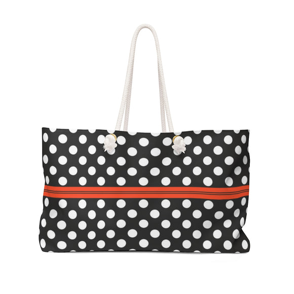 Oversized Weekender Tote Bag - Polka dots with stripe