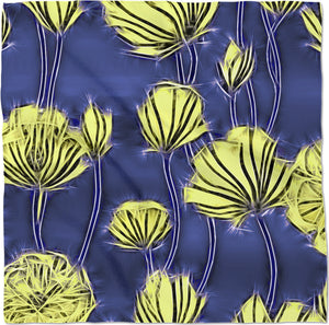 Yellow electrified flowers, gray floral abstract pattern on black, dark blue color fabric bandana