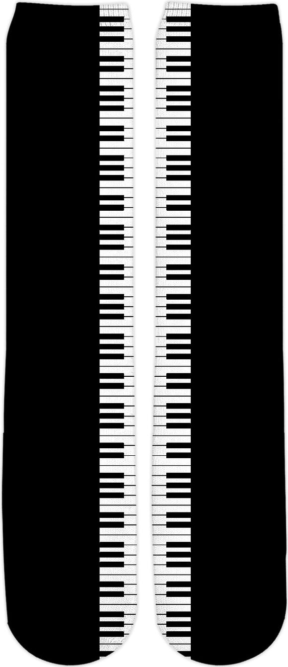 Don't you play with me! v2 Music style knee high socks, piano keyboard clipart, black and white