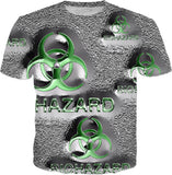 Green biohazard sign, symbol, quicksilver effect, tee shirt design.