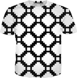 Geometric pattern all-over-print tee shirt, black and white bricks, blocks themed design