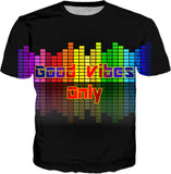 Good Vibes Only, positive vibration, music equalizer, vector tee shirt design, black, rainbow colors palette