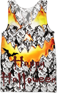Happy halloween Jack-o'Lantern face, demonic flaming eyes, spooky fire demon tank top