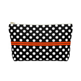 Accessory Carry-All-Pouch w T-bottom - Retro polka dot, black and white