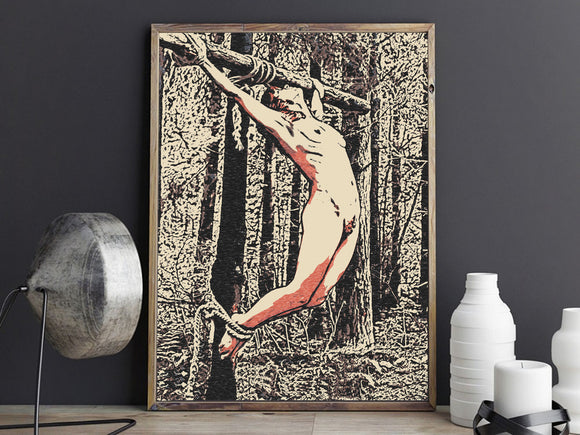 Sensual Erotic Art 200gsm poster - Forest bound, fetish outdoors games