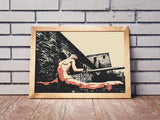 Erotic Art 200gsm poster - Sporty Slave, erotic nude poster, sexy slave girl artwork, hardcore fetish fantasy