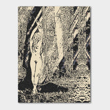 Fetish Erotic Art Canvas Print - Bound forest nymph, blonde girl outdoors bondage