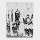 Fetish Erotic Art Canvas Print - Bound and beautiful, forest blonde nymph bondage