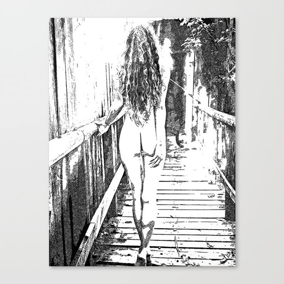 Sensual Erotic Art Canvas Print - Girl at the bridge, sexy BW
