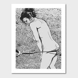 Gallery quality Giclée art print - Butts and Whips, submissive girl whipping
