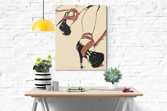 Sexy Art Canvas Print - Good girl knows what to wear, sensual sketch, BDSM ropes