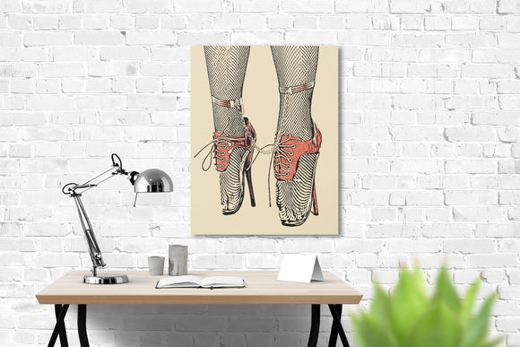 Sexy Art Canvas Print - Glamour bondage girl, sensual fetish sketch, BDSM chains, ballet dancer