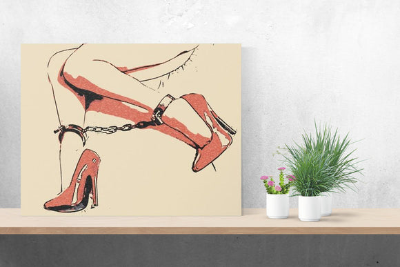 Sexy Art Canvas Print - Glamour bondage girl, Good girls know what to wear...