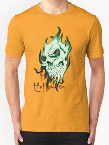 Halloween party tee shirt - Demonic Halloween Skull, 2nd pool of colors