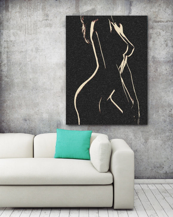 Sensual Erotic Art Canvas Print - Her shapes in Night