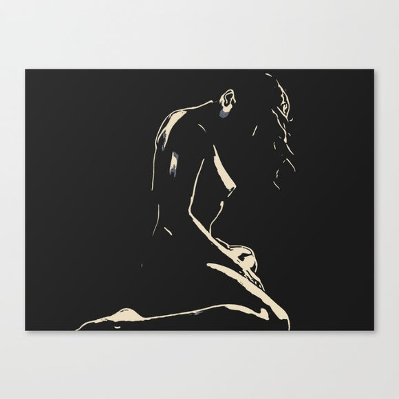 Sensual Erotic Art Canvas Print - In the night She hides 2, outline stencil artwork