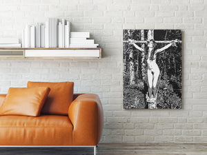 Sexy Art Canvas Print - Glamour bondage girl, sensual fetish sketch, BDSM in the woods