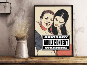 Dirty Erotic Art 200gsm poster - Lesbian celebrity milking, sexy Scarlett and Katy