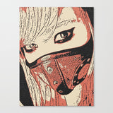 Erotic Art Canvas Print - Masked pet slave, steampunk leather mask, sexy blonde girl