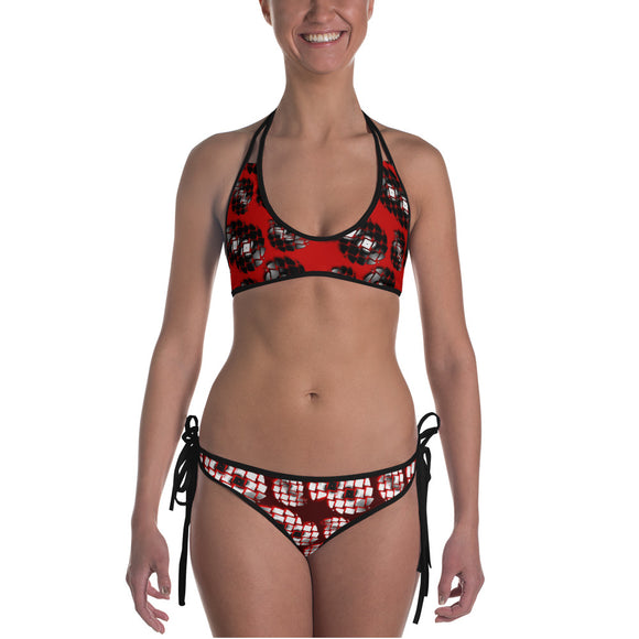Sexy All-over-print bikini swim suit set - Broken spinning discs 1