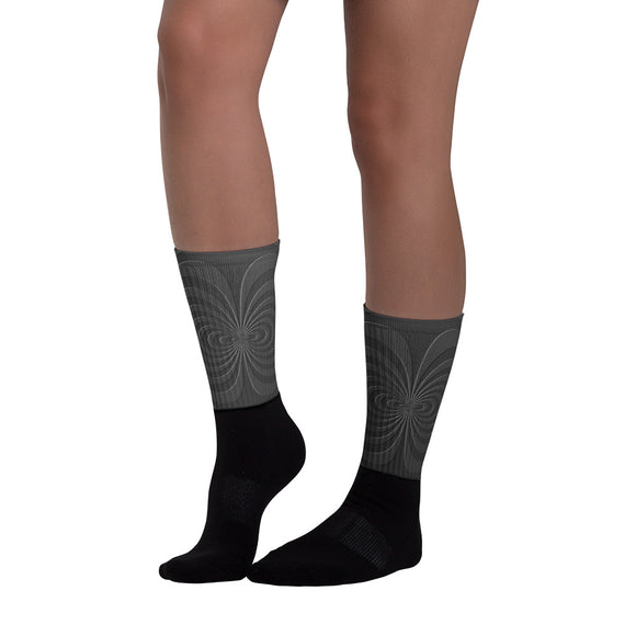 Cool Sublimated Socks - Graphite curves, lines pattern