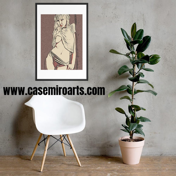 High quality framed art print - Slim and perfect, innocent blonde girl loves to tease (color)