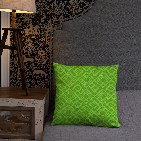 Stylish Pillows with insert, home decor - Green textile pattern