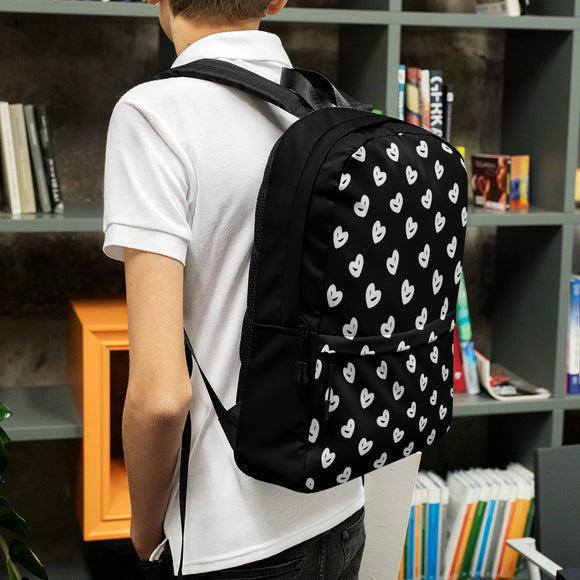 Stylish all-over-print unisex backpack - Black and white hearts pattern