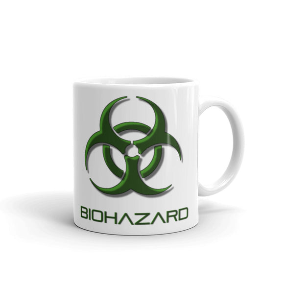 Biohazard warning coffee mug, toxic fallout danger, bio waste sign