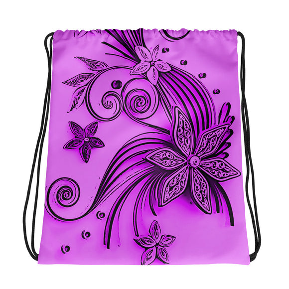 All-over-print Drawstring bag - Purple, pink floral ornament