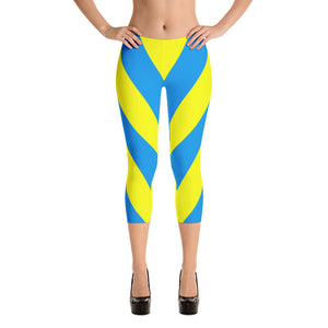 Yellow and blue thick V stripes, lined Capri Leggings