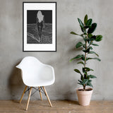 High quality framed art print - It's her Freedom, sexy nude girl at the beach (inverted)