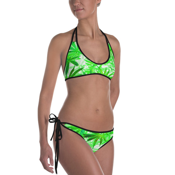 Sexy All-over-print bikini swim suit set - 420 trippy ganja