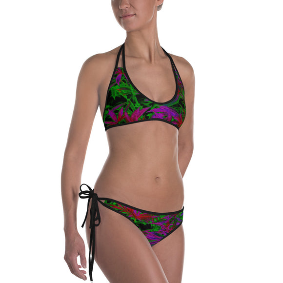 Sexy All-over-print bikini swim suit set - 420 dark trippy ganja