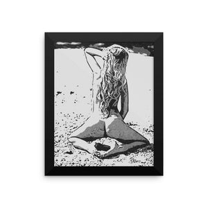 Adult Art Premium Luster Photo Paper Framed Poster - Sexy at the beach