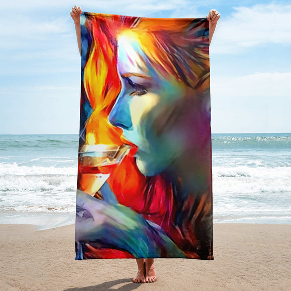Sexy Bath, Beach Towel, sublimated - Redhead beauty and the wine