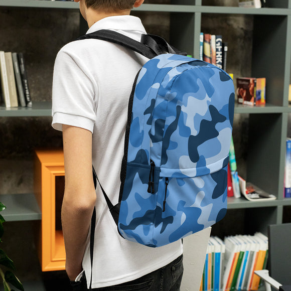 Stylish all-over-print unisex backpack - Blue Army Camo