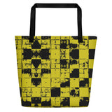 All-over-print Beach Bag - Grunge yellow and black tiles, chequered bricks pattern