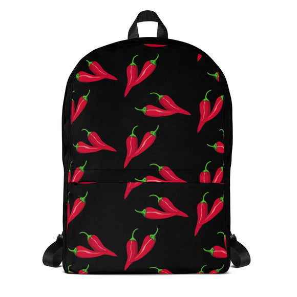 Stylish all-over-print unisex backpack - Spicy peppers on black