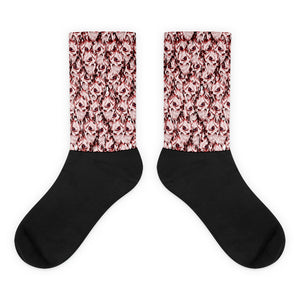 Demonic red skulls sublimated socks, goth style crew lenght black feet socks