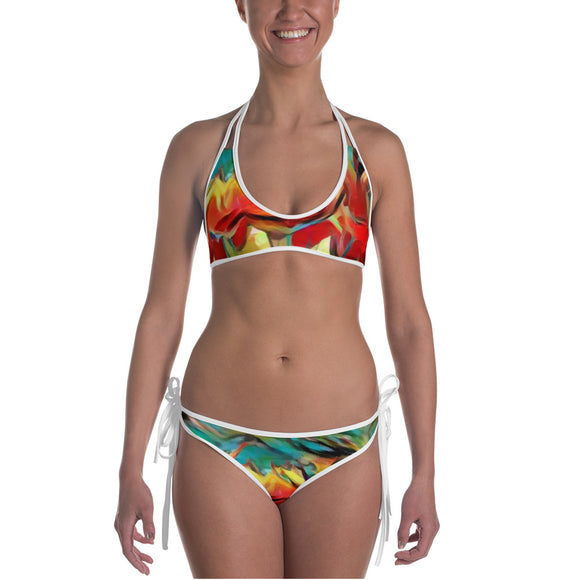 Sexy All-over-print bikini swim suit set - Floral tulips pattern, painted flowers