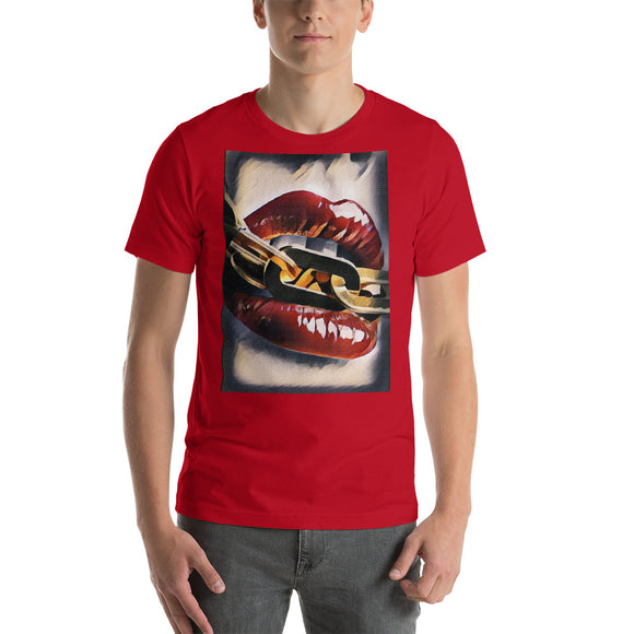 Color Short Sleeve Unisex T-shirt - Lips and chains