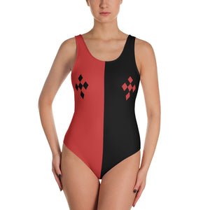 All-over-print One-Piece Swimsuit - Geometric red and black, daddy's little monster style