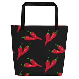 All-over-print Beach Bag - Spicy red chillis pattern