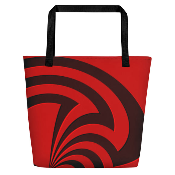 All-over-print Beach Bag - Black and red spirals, geometric pattern