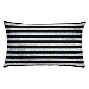 Rectangular Pillow with insert, black and white thin stripes, dirty look