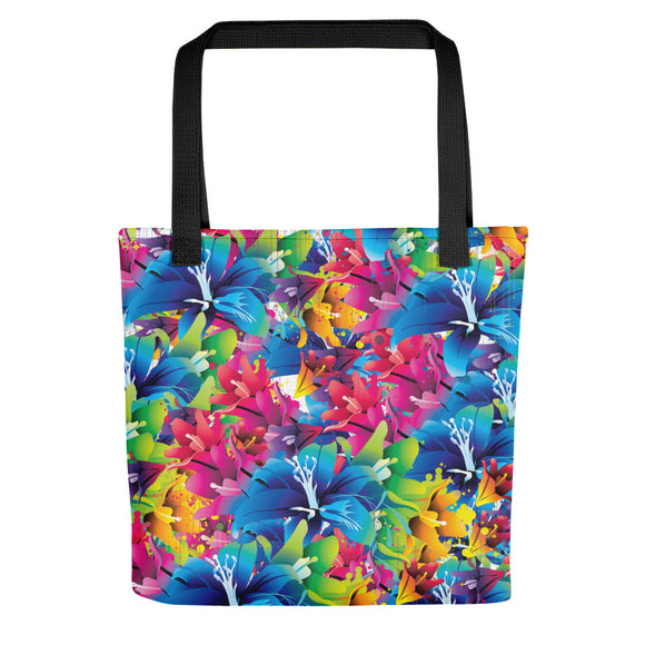 All-over-print Tote bag - Color blast, vector flowers, floral pattern