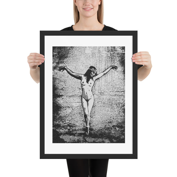 High quality framed art print - Abducted Princess, sexy submissive girl tied (B&W)